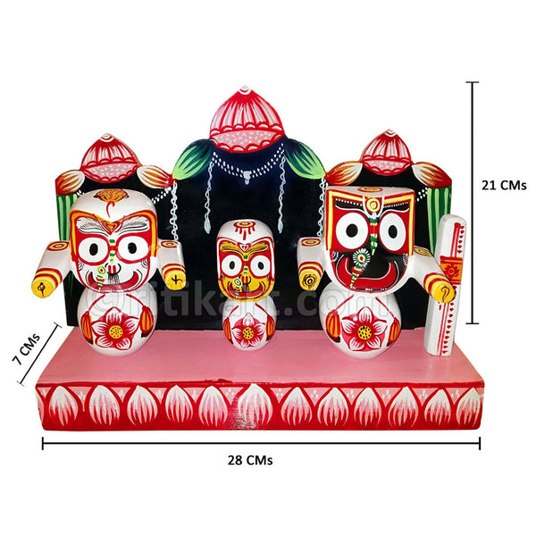 Lord Jagannath Balabhadra Subhadra idol 4 inch with Dias pic-1