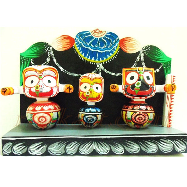 Jagannath Balabhadra Subhadra Wooden Idol Height 6 Inches