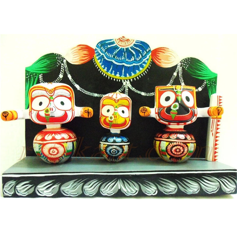 Jagannath Balabhadra Subhadra Wooden Idol Height 6 Inches-pc1