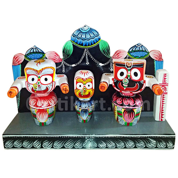 Lord Jagannath Balabhadra Subhadra idol 6 Inch With Prabha pic-1