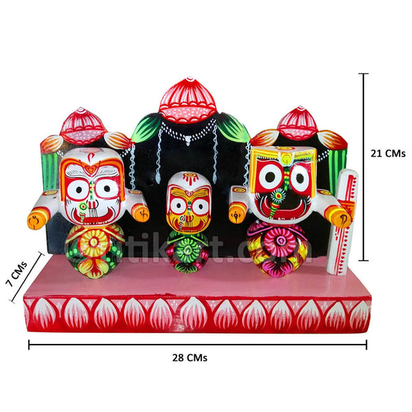 Lord Jagannath Balabhadra Subhadra 4 Inch idol With Prabha-pc1