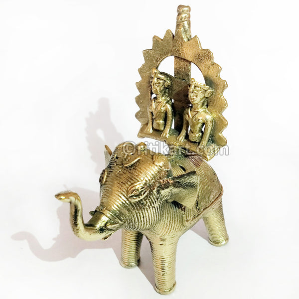 Dhokra Art King and Queen sitting on Elephant Showpiece
