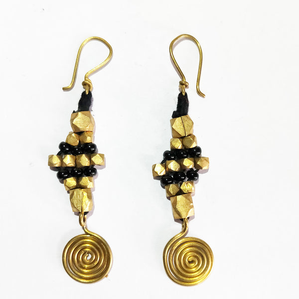 Golden and Black Stone Dhokra Earrings Set