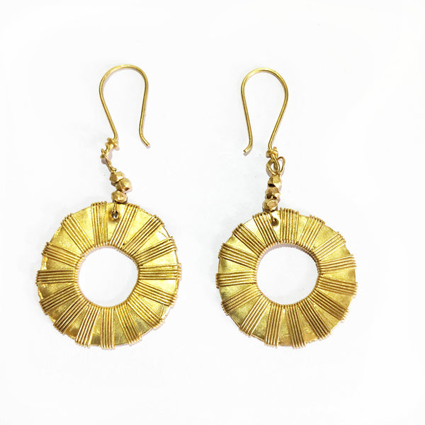 Tribal Jewelry - Golden Round Earrings Set