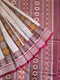 Sambalpuri Maroon and White Strip Design Saree pic-1