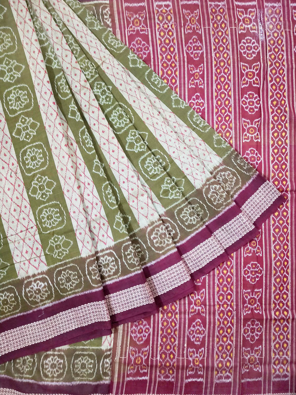 Sambalpuri Green Color Body with Maroon Anchal Design Saree pic-1