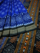Sambalpuri Cotton Saree In Blue Colour Body and Black Anchal With Flower Design-pic2