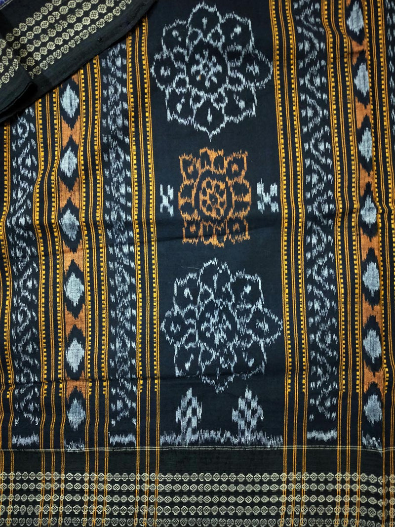 Sambalpuri Cotton Saree In Blue Colour Body and Black Anchal With Flower Design-pic3
