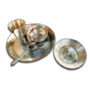 Kansa Thali Set (1 Thali, 1 Bowl, 1 Small Plate, 1 Glass & 1 Spoon)