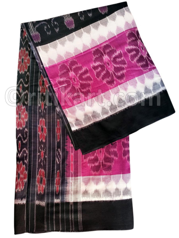 7D Black and Pink Color Maniabandha Cotton Saree Pic-1