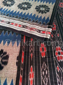 7D Blue and Black Maniabandha Cotton Saree Close Up