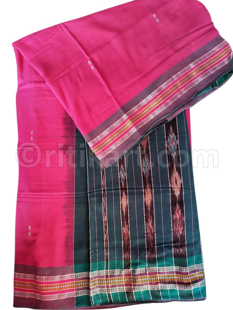 Rekha Butti Work Pink Maniabandha Cotton Saree