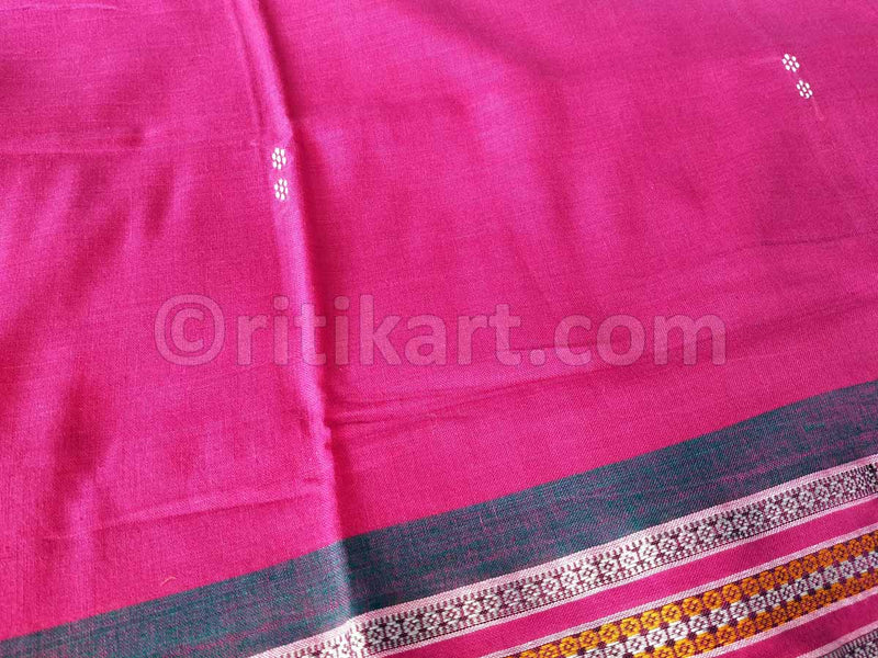 Rekha Butti Work Pink Maniabandha Cotton Saree-pic3