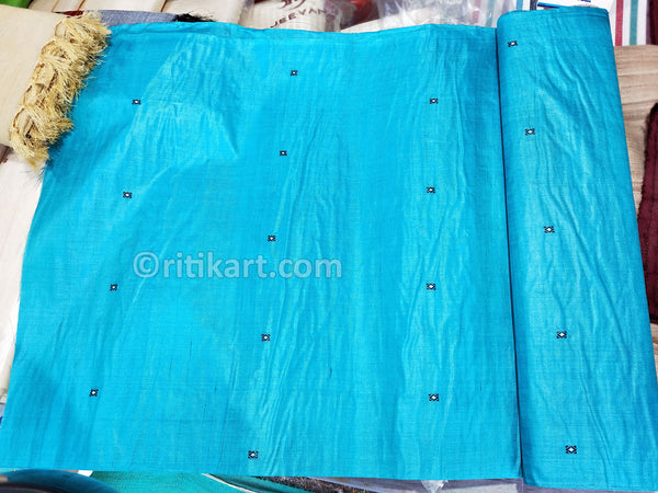 Tussar Fine Silk Raw Fabric Sky Blue p-1