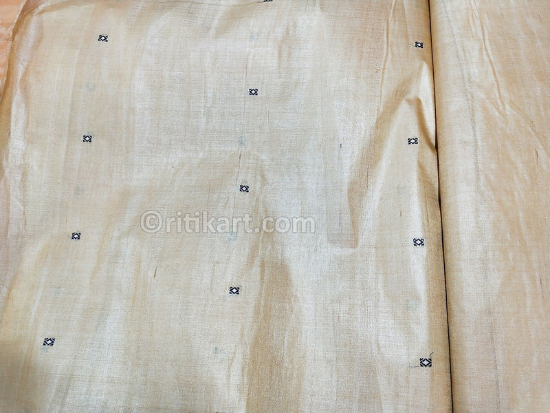 Tussar Fine Silk Raw Golden Yellow Fabric p-3