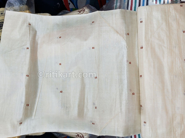 Tussar Fine Silk Raw Fabric Natural p-1
