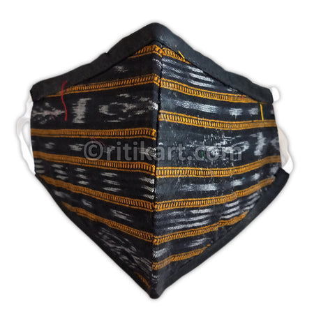 Sambalpuri Handloom Triple Layer Mask- Black with Golden Yellow Strips