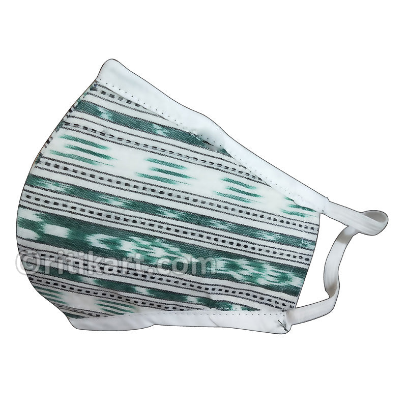 Sambalpuri Handloom Triple Layer Mask- White with Green