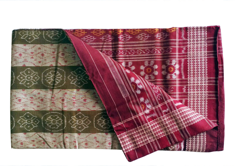 Sambalpuri Green Color Body with Maroon Anchal Design Saree pic-2