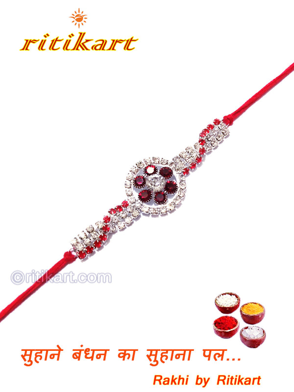 Flower Design White and Red Color Stone Rakhi