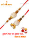 Bhaiya-Bhabhi White with Golden Color Beads Rakhi