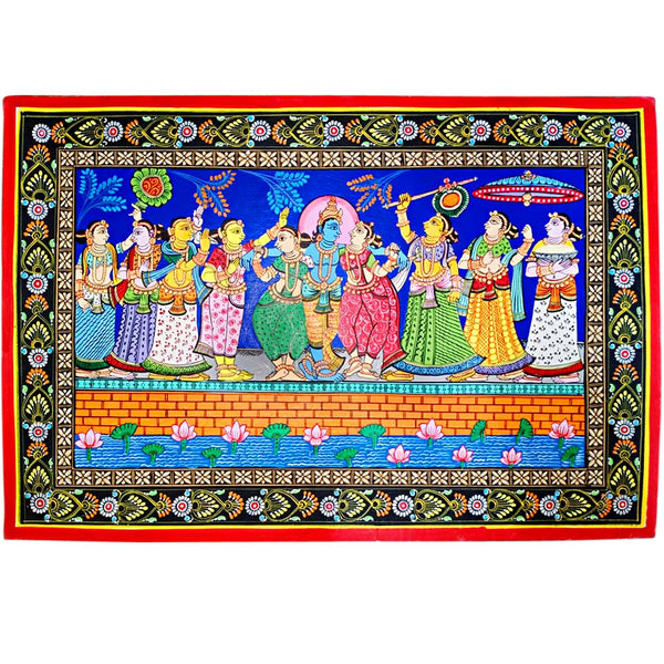 Lord Krishna Dance with Gopis Canvas Pattachitra Painting-pc1