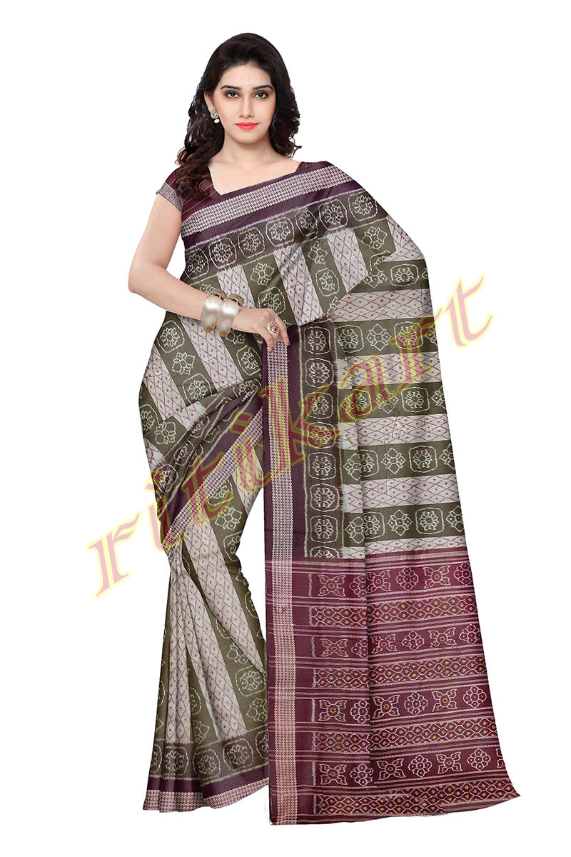 Sambalpuri Green Color Body with Maroon Anchal Design Saree