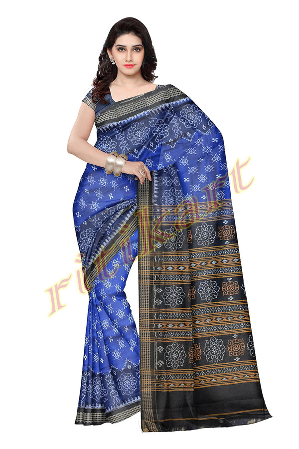 Sambalpuri Cotton Saree In Blue Colour Body and Black Anchal With Flower Design