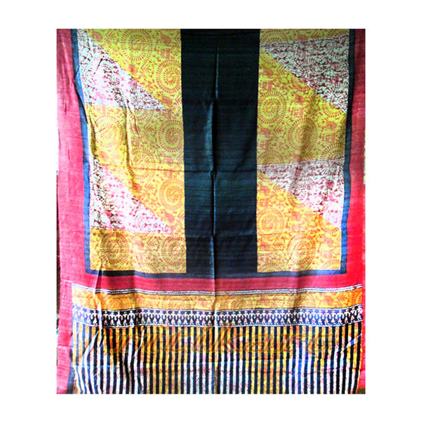 Yellow and black Color Tussar Silk Saree