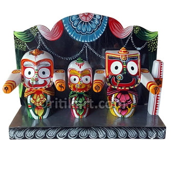 Lord Jagannath Balabhadra Subhadra 8 Inch idol With Prabha pic-1