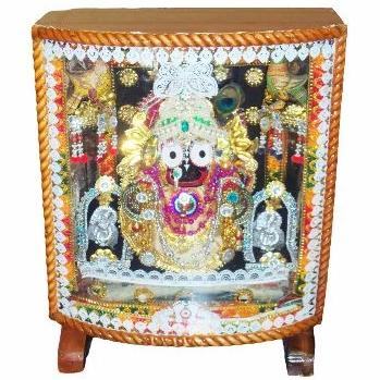 Jagannath Idol in wooden box with colourful lighting