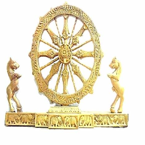 Konark Wheel With Both Side Horse Work Showpiece