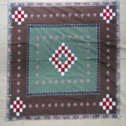 Sambalpuri Light Green & Brown Pasapalli Traditional Double Bed Cover