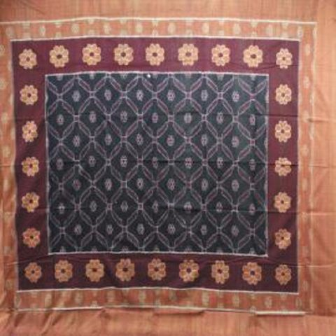 Sambalpuri Black & Rust Traditional Single Bed Cover