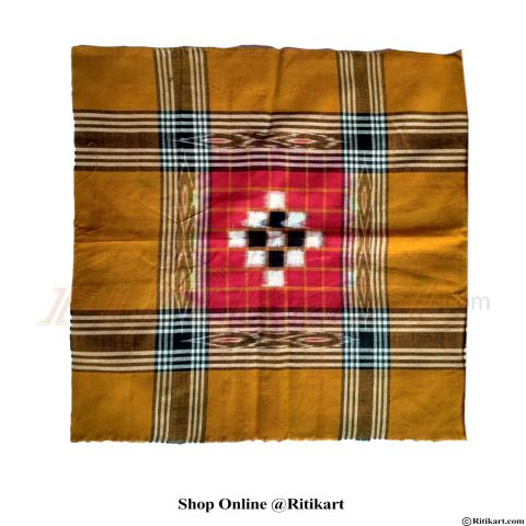 Sambalpuri Rumal Yellow And Red with Pasapali work