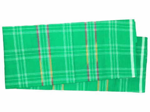 Sambalpuri cotton Bottle Green with White Check Lungi