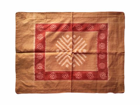 Sambalpuri Brown with red Living cotton Pillows Cover