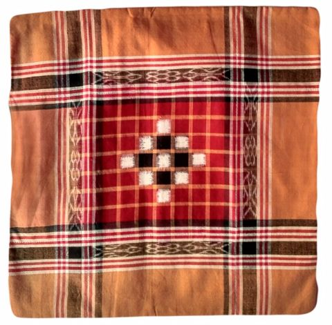 Sambalpuri Orange  and Red cotton Cushion Cover