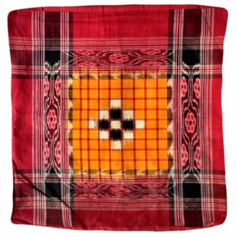 Sambalpuri   Red and yellow cotton Cushion Cover
