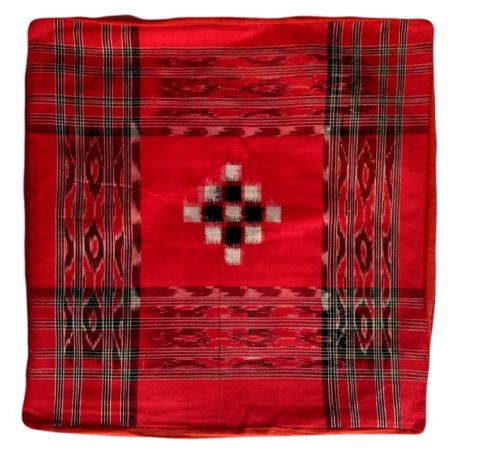 Sambalpuri Red and star cotton Cushion Cover