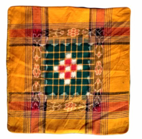Sambalpuri yellow and Green cotton Cushion Cover 1