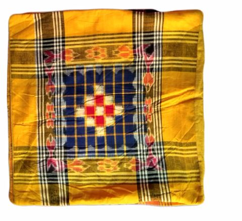 Sambalpuri Yellow and Blue Cushion Cover