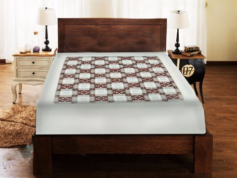Sambalpuri white and Brown Traditional Duble Bed Cover