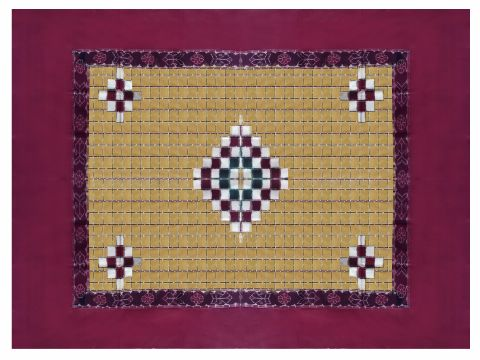 Sambalpuri Maroon Yellow Traditional Duble Bed Cover