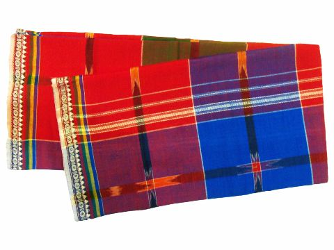 Khurda Gamucha Red and Blue colour Check  90 Cm X 180 CMS