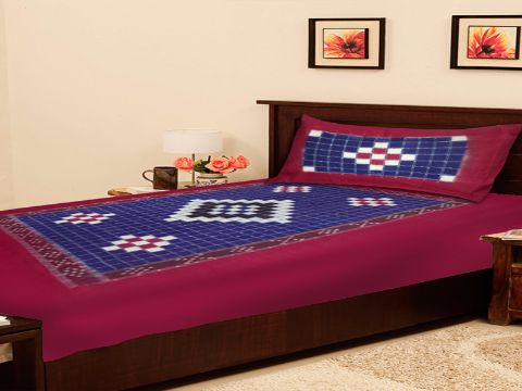 Sambalpuri Maroon Traditional Single Bed Cover