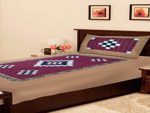 Sambalpuri Brown Traditional Single Bed Cover with Pillow Cover