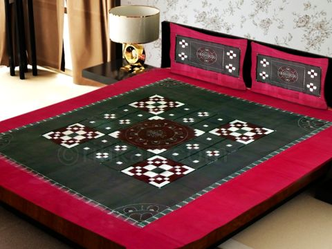 Sambalpuri Dark Maroon Traditional Double Bed Cover with Pillow Cover