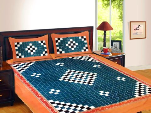 Handwoven Sambalpuri Dark Blue Paspali Traditional Double Bed Cover with Pillow Cover