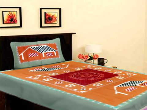 Sambalpuri Green and Orange TraditionalSingle Bed Cover with Pillow Cover